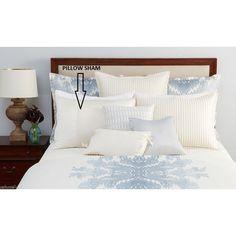 Hudson Park Standard Mirabelle Pillow Sham Beige Piping Luxury $110