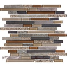 12-in x 14-in Copper Mountain Mixed Material Mosaic Wall Tile (Actuals 12-in x 14-in)