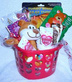 Brownie Bear Valentine`s Basket $14.99