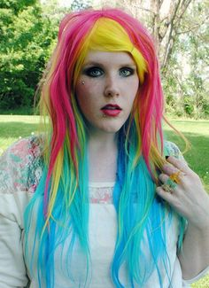 SALE - SUNCATCHER wig // Pink Yellow Teal Blue Hair // Scene Lolita Indie Hipster Hair / Straight Long wig - 123.25 - Etsy.com - ExandOh