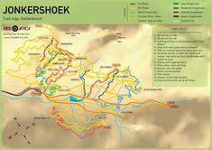 Jonkershoek MTB Map - iRide AfricaiRide Africa Mtb Trails, Trail Maps, Cycling Bikes, Africa, Tech, Tecnologia, Technology