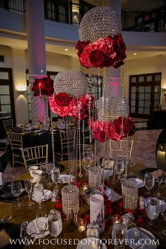 Wedding: Adam and Ashley married at Westin Colonnade Coral Gables, FL Hollywood Theme Decorations, 21st Birthday Decorations, Red Wedding, Floral Wedding, Wedding Day, Bling Wedding, Wedding Reception Design, Wedding Reception Decorations, Rose Centerpieces