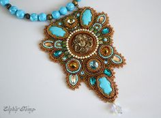 SALE Beads embroidery necklace the undine от ElenaGems на Etsy