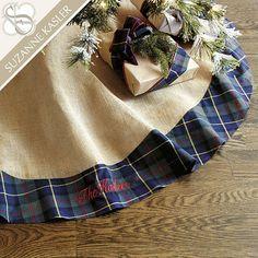 Suzanne Kasler Burlap & Mackenzie Plaid Tree Skirt