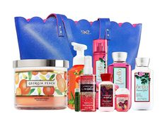 Bath and Body Works Spring's Scents Tote - Georgia Peach Candle and Hand Soap, Hello Beautiful Mist, Lotion and Gel, and Thousand Wishes Mini Mist, Lotion and Pocketbac With A Jarosa Peppermint Lip Balm -- Additional details at the pin image, click it  : Travel Skincare