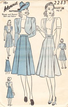 Vintage Misses' 1930s Skirt And Bolero  by daisyepochvintage, $10.00