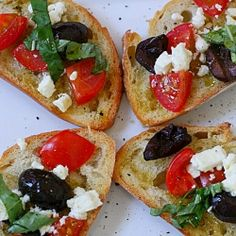 Greek Crostini, feta tomatoes, olives & basil