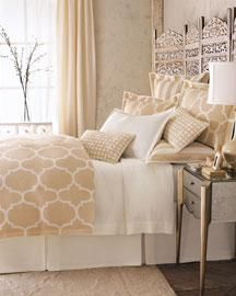 EdytaDesigns: Bedding - bedding - beige white bedding. Use screen as headboard.