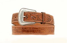 Nocona Hair Floral Angle Tooled Leather Belt, if you are not satisfied our excellent customer service is standing by to help. Leather Belts, Leather Tooling, Tan Leather, Men's Belts, Tooled Leather, Western Belts, Western Outfits, Nocona Belt, Stitching Leather