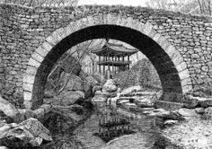 [김영택 화백의 세계건축문화재 펜화 기행] 순천 선암사 승선교와 강선루 - 중앙일보 뉴스 Ink Pen Drawings, Pen Sketch, Korean Art, Buddhism, Mount Rushmore, Scenery, Tours, Mountains, Modern