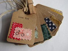 Items similar to sewn fabric and hand typed kraft paper gift tags, love notes set of 8 handmade designs and vintage treasures by on Etsy Paper Tags, Paper Gifts, Kraft Paper, Fabric Tags, Fabric Scraps, Scrap Fabric, Fabric Gifts, Hand Art, Handmade Gift Tags