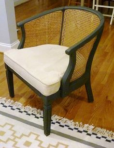 Refinished cane chair - black and natural