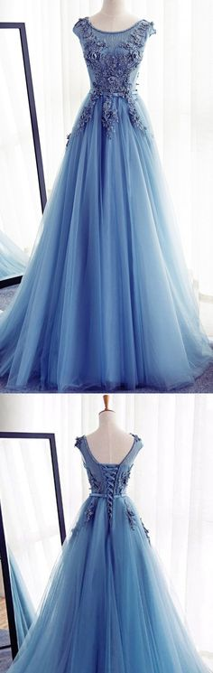 Long A-line Prom Dresses, Blue Sleeveless With Lace Floor-length Prom Dresses