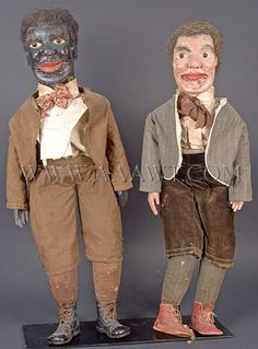 Antique Ventriloquist Dummies, by W. Judd, side by side views (aawt, Ventriloquist Puppets, James Ensor, Minstrel Show, Punch And Judy, Marionette Puppet, What Do You Mean, Doll Eyes, Naive Art, Outsider Art