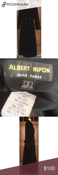 """Albert Nipon Gold Label Wool Cashmere Long Coat 8 Beautiful Double Breasted long coat, 8. Cashmere and Wool Blend. Lined with front pockets. Made in the USA. Laying flat and measures approximately: shoulder to bottom 51"""", armpit to armpit 20"""", armpit to cuff 16"""". Excellent condition and smoke free home. Albert Nipon Jackets & Coats"""