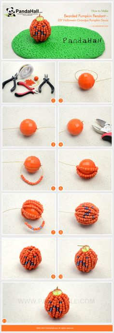 How to Make Bearded Pumpkin Pendant - DIY Halloween Grandpa Pumpkin Decor from pandahall.com