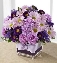 Authentic Floral Design The FTD® Thoughtful Expressions™ Bouquet Windsor, ON, FTD Florist Flower and Gift Delivery Purple Flower Bouquet, Floral Bouquets, Purple Flowers, Daisies Bouquet, Flowers Vase, Buy Flowers, Silk Flowers, Fresh Flowers, Spring Flowers