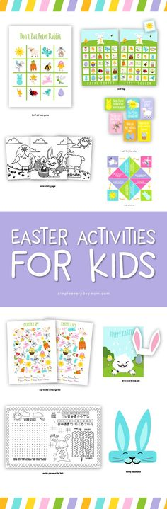 Easter Activities For Kids | Grab this fun package of Easter printables for kids that includes Easter bingo, lunch notes, I spy game, bunny headband, easter egg coupons, don't eat pete, printable placemat and more!  #easter #eastercrafts #easterbunny #printablesforkids #simpleeverydaymom