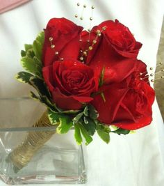 Red and Gold Prom Bouquet by Always With Flowers in Lemont