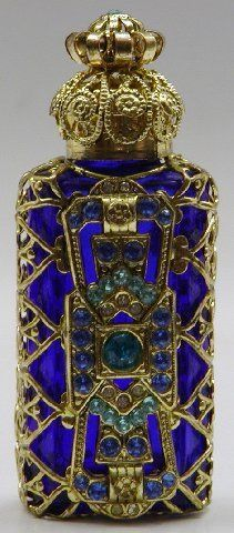 »✿❤Blue❤✿« Czech Gold Plated Filigree Perfume Bottle