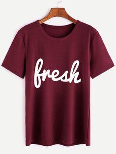 Burgundy Letter Print T-shirt