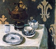 Still life with blue and white porcelain tea set  Paula Modersohn-Becker - 1900