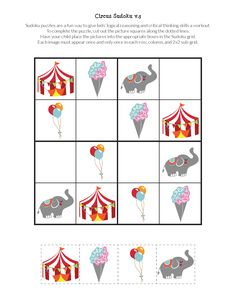 FREE Circus Sudoku puzzles for kids, with beginning and intermediate level games you can print and play. Great for stimulating critical thinking skills! Sudoku Puzzles, Crossword Puzzles, Puzzles For Kids, Circus Activities, Math Activities, Body Preschool, English Worksheets For Kids, Critical Thinking Skills, Club Kids