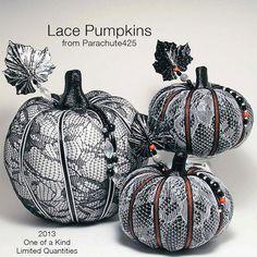 BLACK LACE PUMPKIN, Halloween, black and white, macabre, goth
