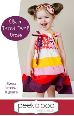 fairytale frocks and lollipops :: peek-a-boo pattern shop, amy hindman, clara tiered twirl dress, girl, baby, infant, toddler, girls dress pattern, girls sewing pattern, children's sewing pattern, sun dress, sundress, summer, bows, criss-cross, criss cross, gathered, tier, mid-calf, knee, maxi, sewing, instant, digital, pdf, e-pattern, e-book, epattern, ebook, tutorial, digipattern