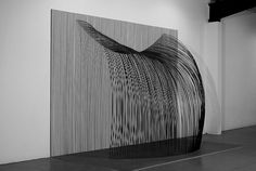 "Tom Orr, ""Waterfall,"" 3/4 view, steel, paint, wood, 122"" x 184"" x 84"""