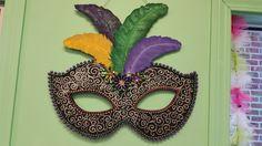 Mardi Gras mask painted Door Hanger.