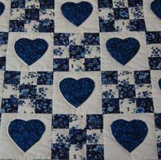 bed quilt with blue heart shapes - Google Search
