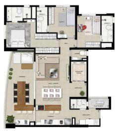 Pinterest: @claudiagabg | Apartamento 3 cuartos despensa terraza House Layout Plans, House Layouts, Apartment Floor Plans, House Floor Plans, Villa Plan, Apartment Plants, Container House Plans, Bungalow House Design, Minimal Home