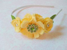 Wool Felt Flower Satin Lined Headband - BLOSSOM & ROSE Collection - ALISA - Buttercup Yellow - Toddler, Girl, Teen, Adult, Photo Prop
