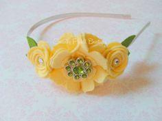 Wool Felt Flower Satin Lined Headband  by SwankyPickleBoutique
