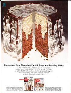 Vintage  1964 Betty Crocker Parfait cake and frosting mix advertisement