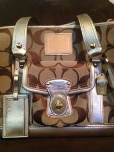 100% Authentic Coach Dog/Pet Carrier; Signature Jacquared Gold; Metalic Leather
