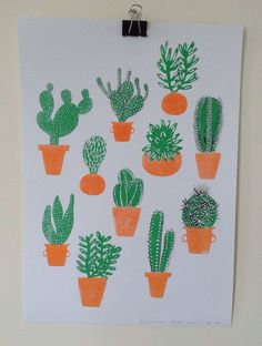 Cactus Family Risograph - Caroline Dowsett