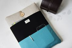 11, 13, 15, 17 inch Macbook Sleeve, Retina case, Custom Laptop sleeve Padded Notebook PC Cover / Black - Blue