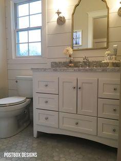 Update a Builder Basic Bath by Postbox Designs, Fixer Upper Bathroom, cottage bathroom, bathroom vanity, ship lap, shiplap, bathroom sconces, tile floor, marble hex tile, bathroom makeover, bathroom design, bathroom ideas, bathroom remodel, e-design