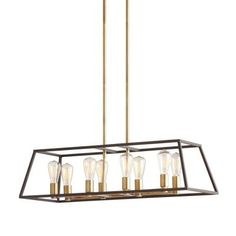 Monteaux Lighting Retro 8-Light Antique Brass with Dark Bronze Pendant-DC-C591001A - The Home Depot