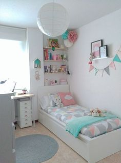 stylish, dorm room ideas and decor essentials for girls 29 - Girl room - Bedroom Decor Small Room Bedroom, Trendy Bedroom, Bedroom Girls, White Bedroom, Bedroom Ideas For Small Rooms For Girls, Bedroom Themes, Diy Bedroom, Magical Bedroom, Small Childrens Bedroom Ideas