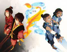 Avatar siblings: Fire Nation royal family Azula and Zuko; Water Tribe chiefdom Sokka and Katara