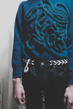 Intestine knit and lacing backstage at Katie Eary AW15 LCM. See more here: http://www.dazeddigital.com/fashion/article/23178/1/katie-eary-aw15