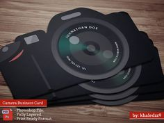 Another sly photography business card. A black dslr illustration used as a…