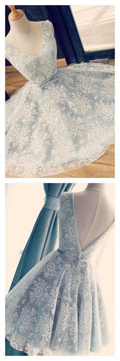 2017 v-neck prom dresses, applique 2017 lace homecoming dresses,2017 short knot prom dresses #SIMIBridal #promdresses