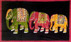 Three Royal Elephants (Batik Painting on Cotton Cloth - Unframed)
