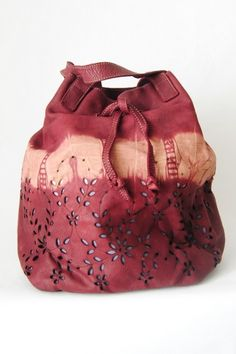 NEW!! PERFORATED TIE-DYE LEATHER TOTE BAG WITH LASSO TIE - Bags - Woman