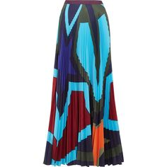 Mary Katrantzou Pelar pleated printed crepe de chine maxi skirt ($1,605) ❤ liked on Polyvore featuring skirts, pleated maxi skirt, ankle length skirt, floor length skirts, pleated skirt and colorful maxi skirts