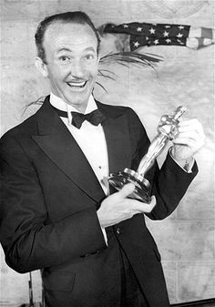 """1937: Walter Brennan with his Best Supporting Actor Oscar for """"Come and Get It."""""""